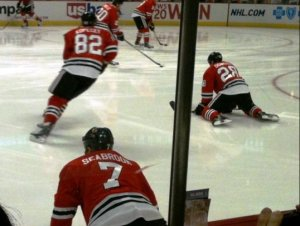 Seabrook stretching during warmups.