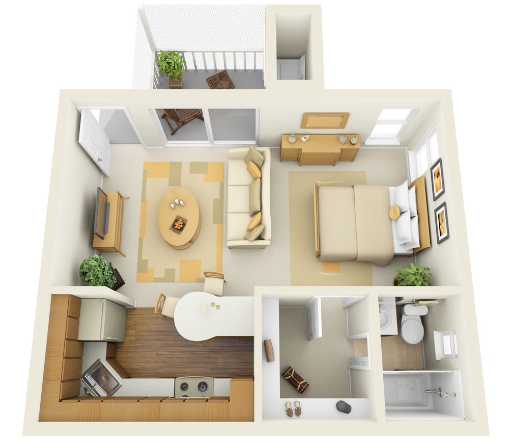Impressive 3D Studio Apartment Floor Plans 1000 x 867 · 405 kB · jpeg
