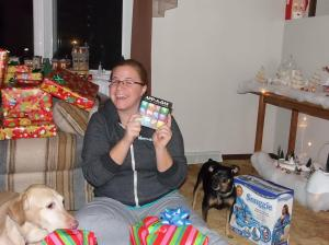 Me with some of my loot! Check out Chance and Ella in the background - sneakers!