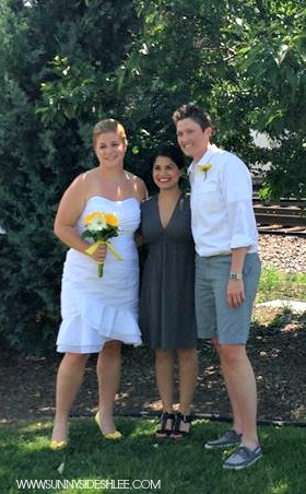 us w/our beautiful officiant!