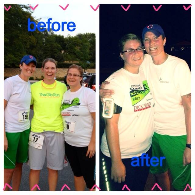 before and after the 5k!