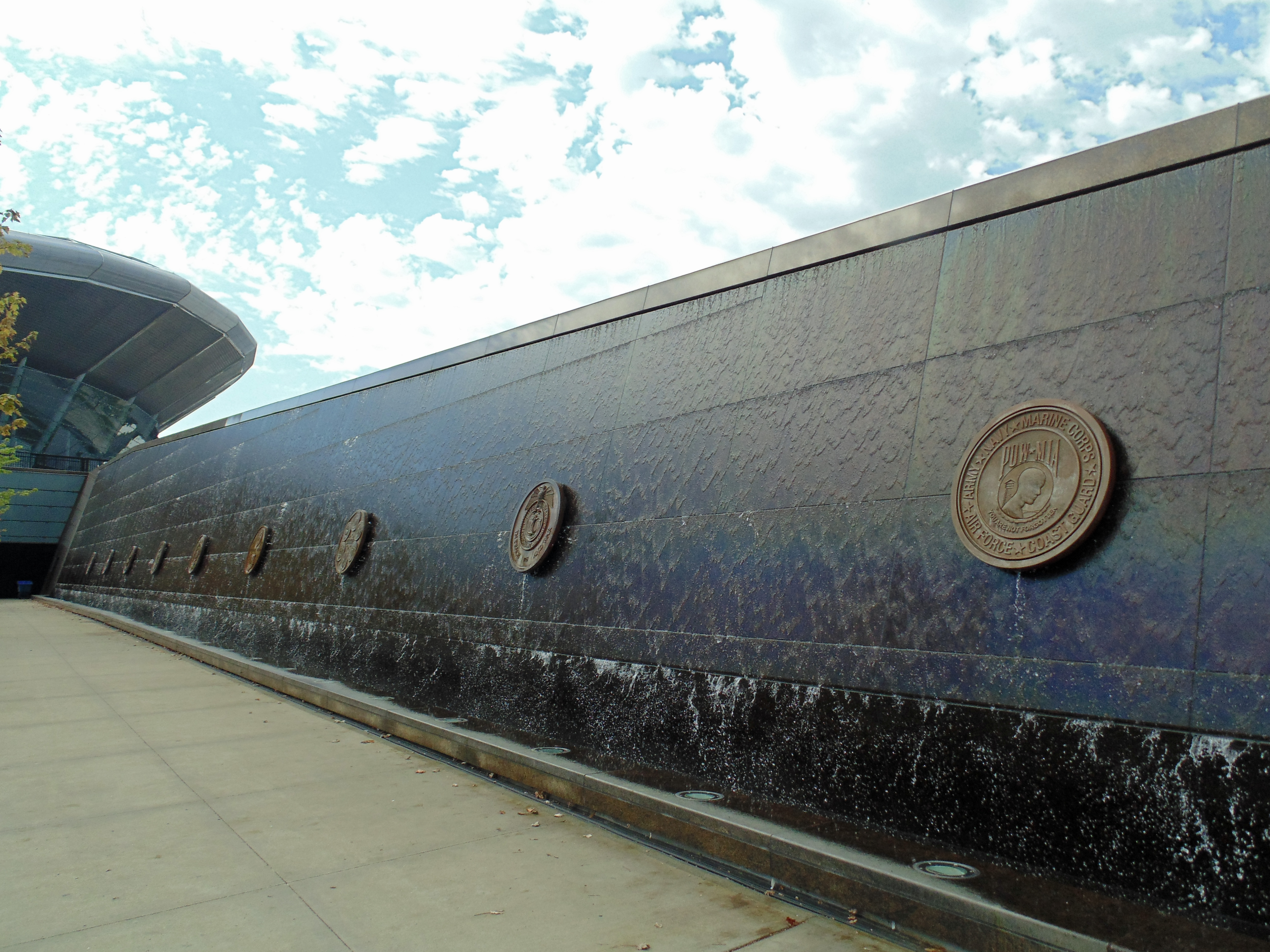 row of military medallions at Soldier Field